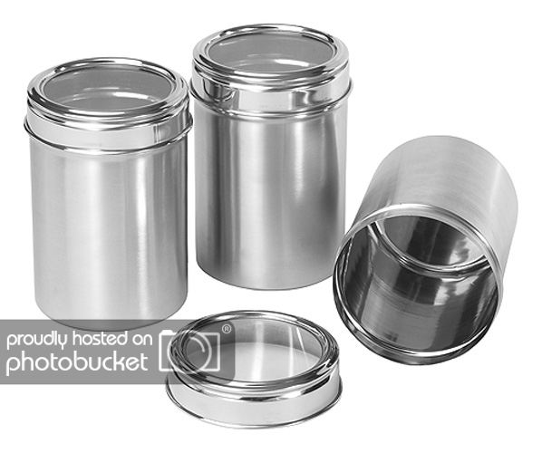Stainless Steel Kitchen storage Canisters with see through lid - Set of 3 -  Size 12,13,14 cm (Code: 2CGD)