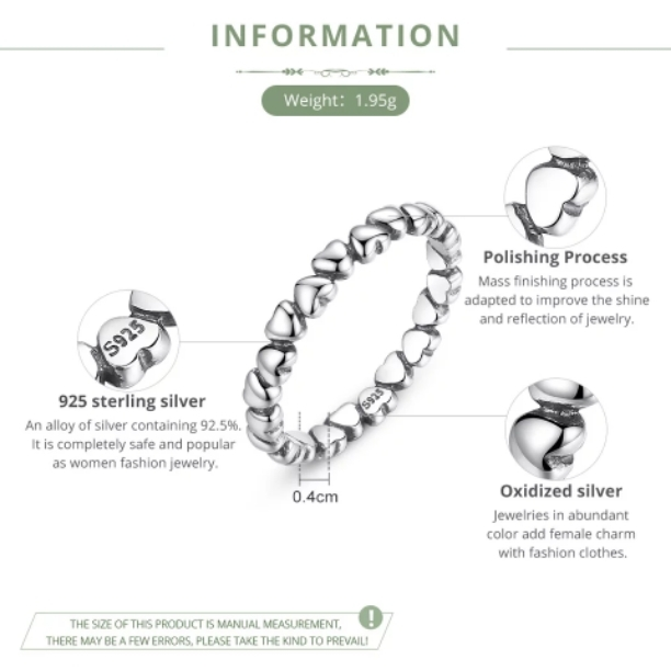 8507fd41a2257 BAMOER 925 100% Solid Sterling Silver Forever Love Heart Finger Ring  Original Jewelry NewYear & Valentine's Day Gift PA7108