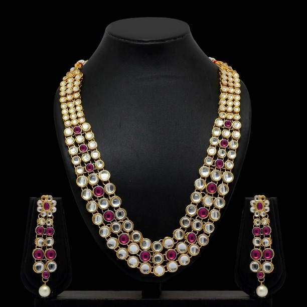 14849d94e54b9 Traditional Kundan Pearl Necklace Set for Women (Code: 12BS)