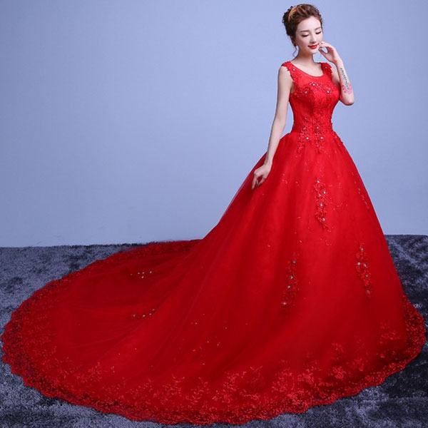 Red Wedding Dresses.Women S Party Red Wedding Gown Wedding Dress Floor Length Ball Train Gown Dress International Material Best Seller
