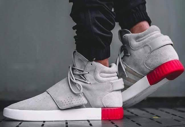 "sale retailer 333db 17a3e Adidas✔️Tubular Invader Strap ""Grey/Red"""